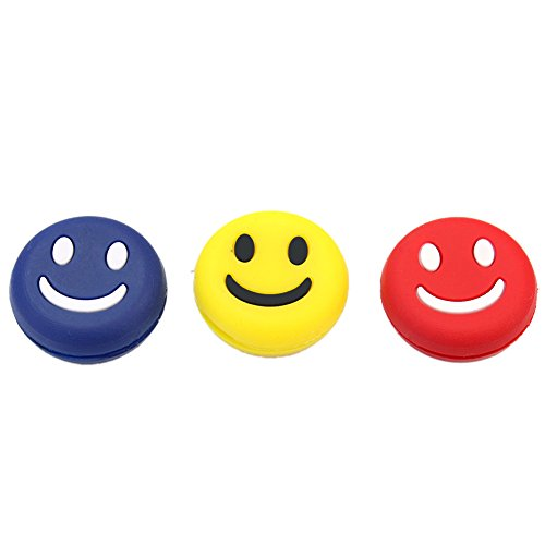 3Pcs Silicone Rubber Smile Smiling Face Shock Vibration Dampener Absorber for Sports Tennis Racquet Racket