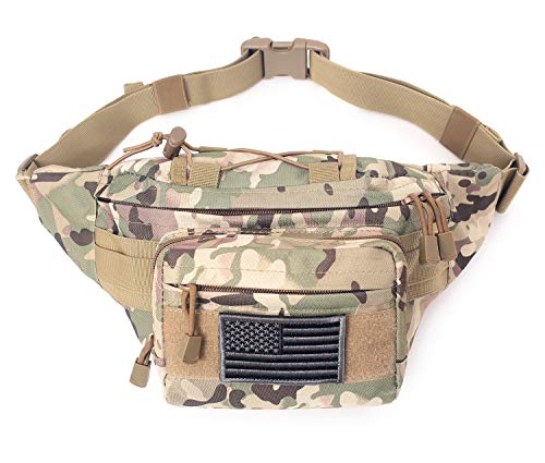 Tactical Waist Pack Military Waist Bag Fanny Pack Hip Bum Bag with Adjustable Strap for Camping Hiking Hunting (Patch Not Included) (CP)
