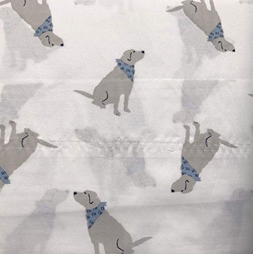 Tommy Hilfiger Labrador Dog Queen Sheet Set Blue Gray White 4 Pc ()