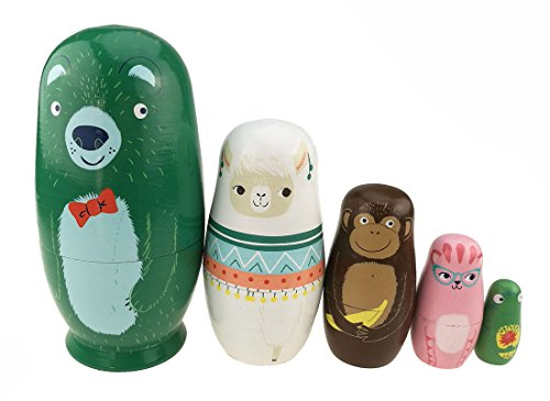 Unigift Set of 5 Cutie Lovely Bear Alpaca Monkey Cat Frog Animal Theme Nesting Dolls Matryoshka Russian Doll Wooden Handmade Kids Girl Gifts Toy Home Decoration