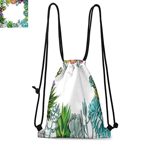 - Succulent Portable drawstring backpack Frame with Various Succulent Plants Collection Vivid Garden Tropical Nature Image For the gym W17.3 x L13.4 Inch Multicolor
