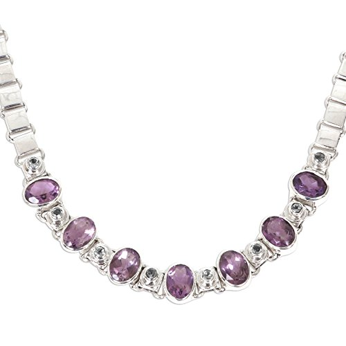 NOVICA Multi-Gem Amethyst .925 Sterling Silver Pendant Necklace, 15.25'' 'Exuberance' by NOVICA