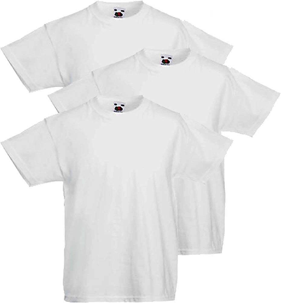 12-13 Anni - Altezza 152 cm, White/_30 Fruit of the Loom 3 T-Shirt Bambino Valueweight