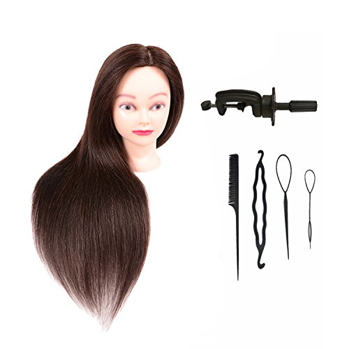 TopWigy Mannequin Head with Human Hair Cosmetology Manikin Head Training Practice Doll Head Mix Real Hair 20