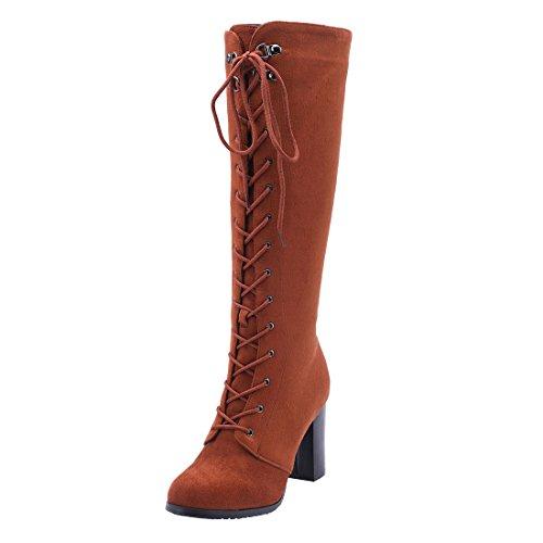 Ye Stivali Moda Eleganti Stringata Al Boots Scarpe E Blocco Marrone Autunnali Tacco Ginocchio Donna A r5P7nwfqr