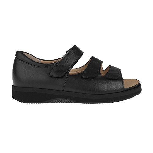 Sandalo Da Donna Ortopedia Tessamino | Fatto Di Cuoio | Per Diabetici E Reumatici | Largo Nero
