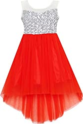 Girls Sequin Mesh Party Dress