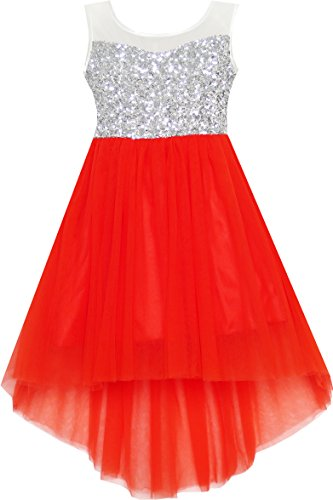 HK35 Girls Dress Sequin Mesh Party Wedding Princess Tulle Red Size 14 -
