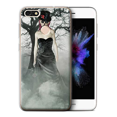 STUFF4 Gel TPU Phone Case/Cover for Huawei P9 Lite Mini/Black Dress Woman Design/Day of The Dead Festival ()