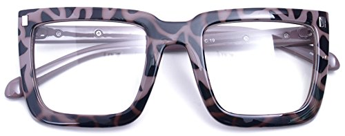 Big Square Horn Rim Eyeglasses Nerd Spectacles Clear Lens Classic Geek Glasses (TORTOISE 1830, Clear)