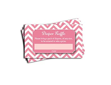 Pink Chevron Printed Diaper Raffle Tickets Girl Baby Shower Games (50 Cards)