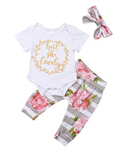 (Isnt She Lovely 0-18M Infant Newborn Baby Girl Short Sleeve Cotton Bodysuit Tops Floral Pant Headband (12-18 Months, Style)