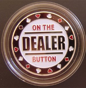Guard Button Dealer Card - MRC Poker Hand Painted Poker Card Guard Protector - Dealer Button Silver