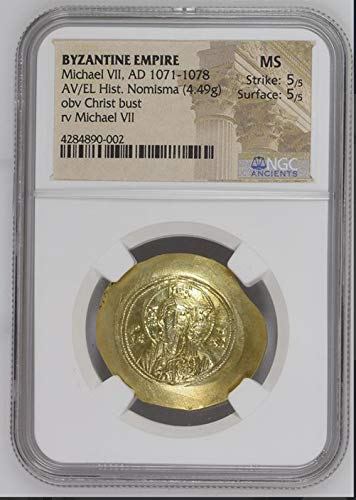1071 IT Michael VII AD 1071-1078 AV EL Gold Histamenon Nomisma Gold El Histamenon Nomisma MS NGC
