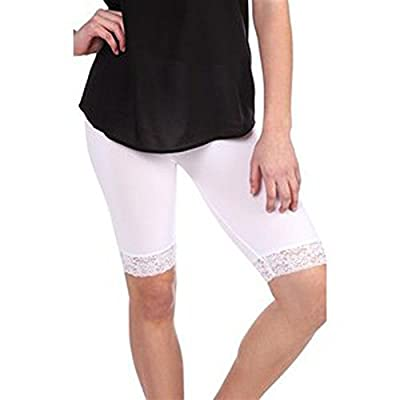 Elegance1234 Ladies Stretchy Trim Above Knee Cycling Shorts Active Legging with Lace Detail