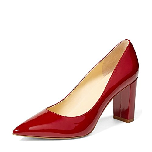Dress Heel Pump Shoe (YDN Women's Classic Pointy Toe OL Pumps Slip-on Patent Leather Block Heel Dress Shoes Red 9.5)