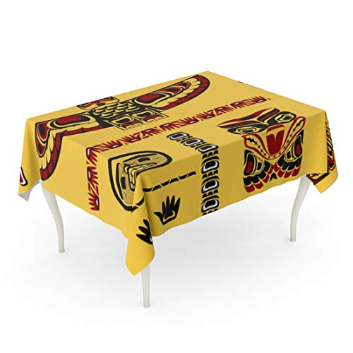 (Tarolo Rectangle Tablecloth 60 x 84 Inch Red Totem Canadian Native in Yellow Pattern Canada Inuit Northwest Pacific Table Cloth)