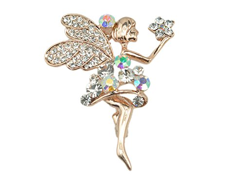 Gold Plated Full Inlay Austrian AB Crystal Cute Little Fairy Girl Brooch and Pin -Gift Packaging Included