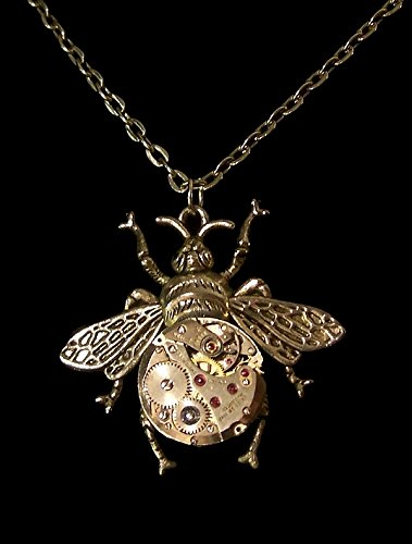 c91b87657 Image Unavailable. Image not available for. Color: Steampunk Bumble Bee  Necklace - Watch ...