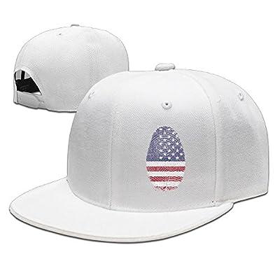 American Flag Fingerprint Solid Flat Bill Hip Hop Snapback Baseball Cap Unisex sunbonnet Hat.