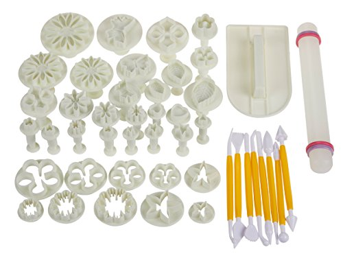 46 Piece Large Cake Dessert Decorating Supply Kit Set for Baking, Dessert Design and More with Flower Fondant Shape Cutters and Rolling Pin (Equipment For Cake)