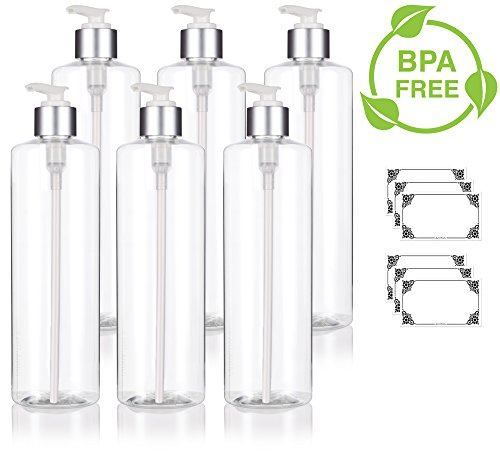 Clear 16 oz / 500 ml Professional Cylinder PET Bottles (BPA Free) with Silver Lotion Pump (6 pack) + Labels for Shampoo, Conditioner, Body Wash, Lotion, and more (Pump 16 Shampoo Oz)