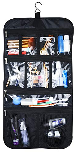 Premium Hanging Toiletry Travel Bag - Cosmetic, Jewelry, Toiletry & Accessory Storage Organizer Bag, Large Size, Various Compartments (Black)
