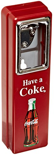 Tablecraft Coca Cola 10-1/2-Inch Wall Mountable Chrome Plated Metal Bottle Opener with Cap (Coca Cola Metal Bottle Opener)