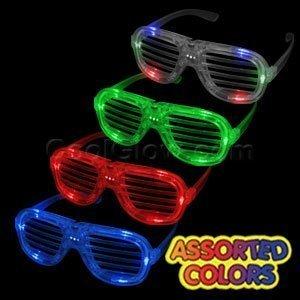 12ct LED Light Up Slotted Shades Sunglasses - Assorted Flashing - West Style Kanye