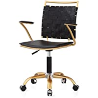Meelano 356-GD-BLK Office Chair, Black/Gold