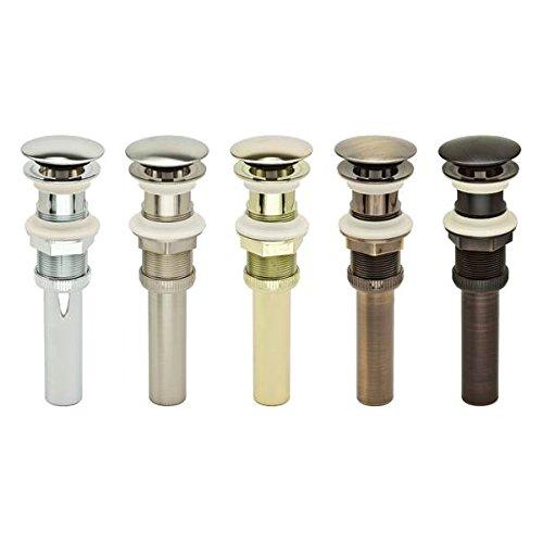 PF WaterWorks PF0712-ABDecoDRAINPush Pop-Up Sink Drain with Overflow Umbrella Cap 2.5 in Antique Brass1Piece Plated ABSCap Dia