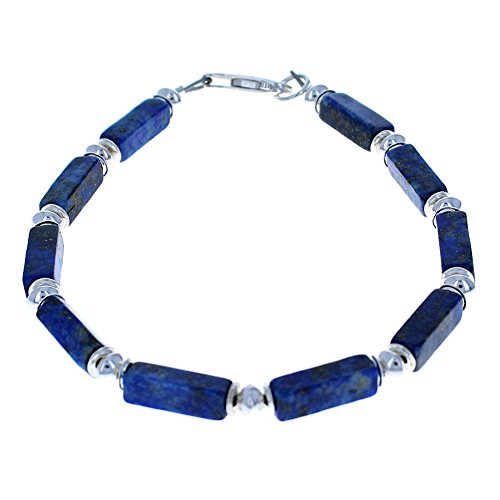 Timeless Treasures - Lapis Lazuli & Sterling Silver Men's Beaded Bracelett - (Lapis Treasure)