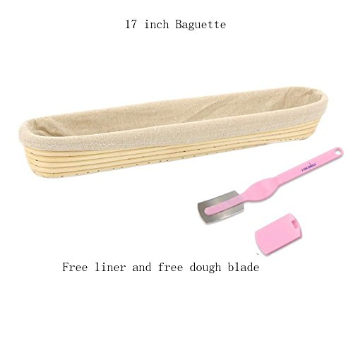 Banneton Proofing Basket Set - Premium 17 Inch Baguette Bread Proofing Brotform with Linen Cloth Liner and Dough Blade - Natural Rattan Blades