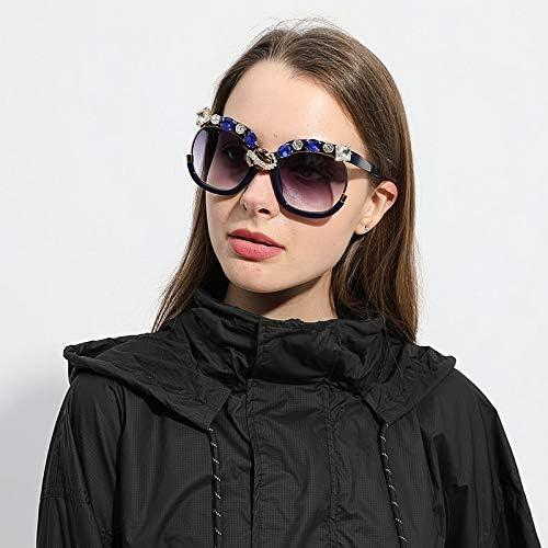 SILTYJ Occhiali da Sole Oversize con Diamanti Donna Occhiali da Sole con Montatura Grande di Marca Vintage da Donna Occhiali da Sole per Donna Blue