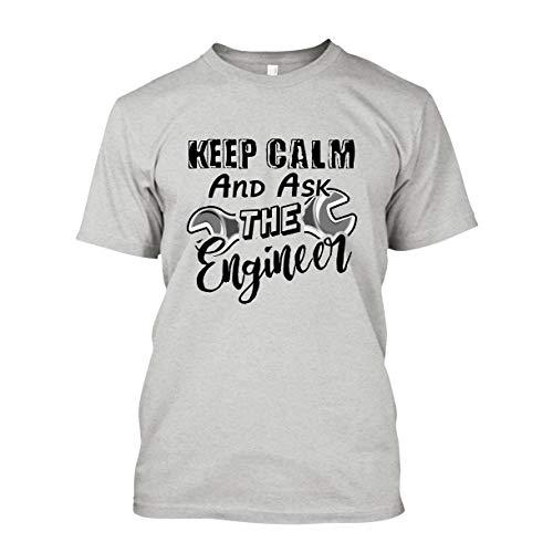Keep Calm and Ask Engineer Short Sleeve Shirt, T Shirts Gift Idea Ash,2XL