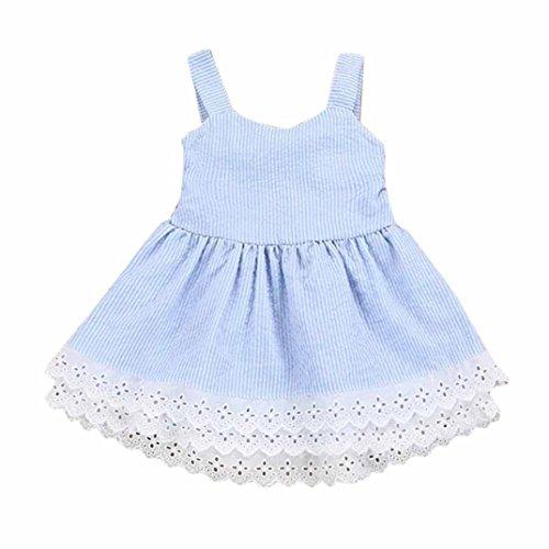 Winsummer Halter Backless Dress for Kids Toddler Lace Stripe Bowknot Princess Party Sundress 12M-5T (3T, - Silk Dress Hem Petal