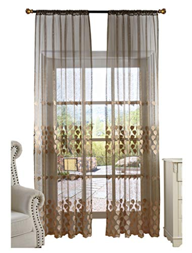 Smibra European Style Sheer Curtain Elegance Leaf Embroidery Window Drapery Rod Pocket Drape Treatment for Living Room,Lounge(1 Panel,W50 x L100inch, Brown)-1280798SC1ZABN820100-8508