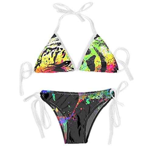 (Women Casual Messy Color Tiger Printed Triangle Two Piece Bikini Set?)
