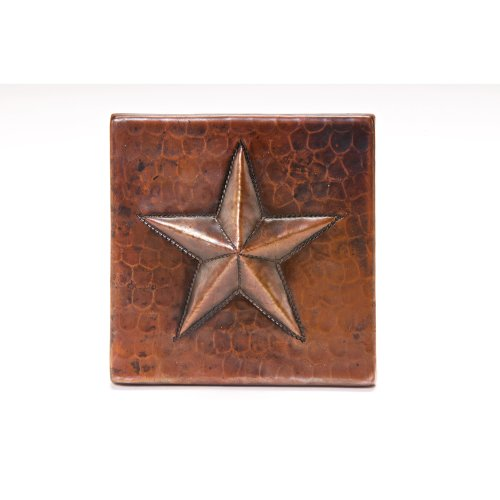 Copper Star Tile (Premier Copper Products T4DBS 4-Inch by 4-Inch Copper Star Tile, Oil Rubbed Bronze)