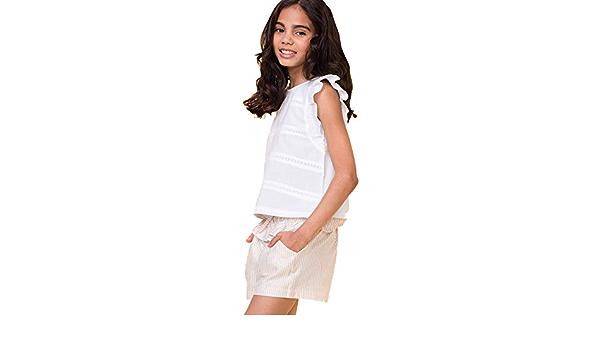 Conjunto de Camisa Blusa Blanca y Short Beige para Niña ...