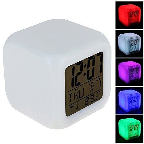 Generic 7 LED Color Changing Glow Morning Wake Up Bedroom Digital Alarm Clock with Data and Termometer Colcok (Cool Alarm Clock For Kids)