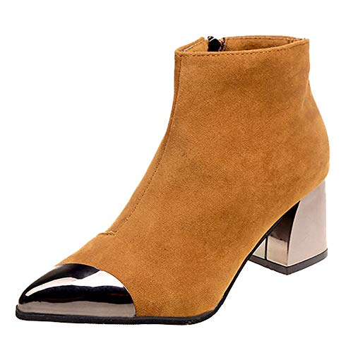 Duseedik Short Boots, Fashion Women High Heel Booties Pointed Toe Suede Wedges Shoes Martin Boots Zipper Boot