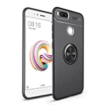 Soft Phone Case for Xiaomi Mi 5X,Yobby Xiaomi Mi A1 Ultra Slim Case with 360 Degree Rotating Ring Holder Kickstand [Magnetic Car Mount] Shockproof Protective Cover-Black