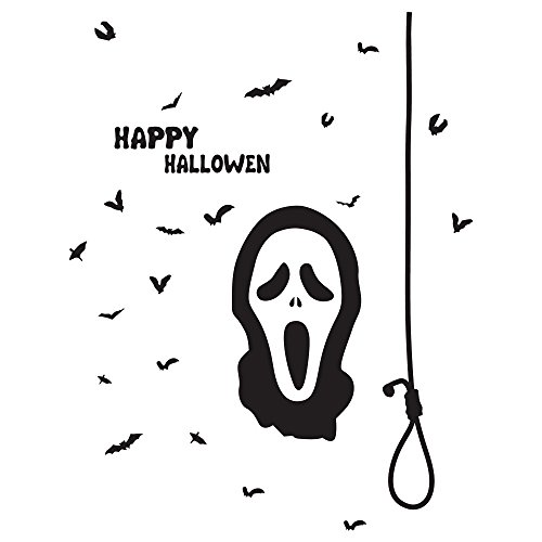 OTTATAT Wall Stickers for Bedroom Boys 2019,Happy Halloween Witch Bats Window Home Decoration Decal Decor Easy to Peel Independence Day Sleeping Gift for Bride Clearance]()