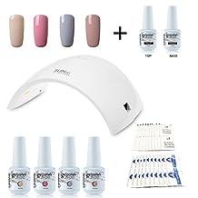 Vishine Nail Starter Kit 4 Colours Soak Off Gel Polish & Top Base Coat, 36W Professional LED Gel Lamp, Remover & Cleanser Manicure Nail Art Tool #C011