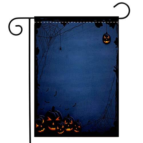 BEIVIVI Custom Double Sided Seasonal Garden Flag Blue Halloween Background with Pumpkins Welcome House Flag for Patio Lawn Outdoor Home Decor