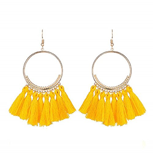 CCOHO Fashion Tassel Hoop Earrings Dangle with Fish Hook Fringe Thread Earring for Women's Wedding, Party (Yellow) (Fish Yellow Earring)