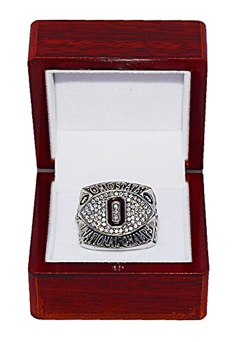 OHIO STATE UNIVERSITY (Buckeyes) 2002 BCS NATIONAL CHAMPIONS (14-0 Regular Season Record) Rare & Collectible Replica NCAA Football Silver Championship Ring with Cherrywood Display Box