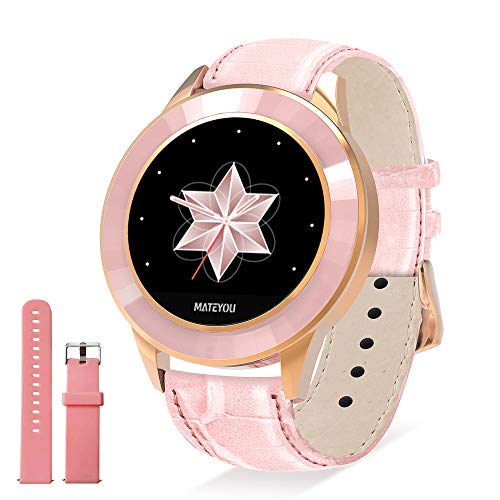 MATEYOU Mate6 IP68 Waterproof Activity Tracker for Girls/Women, 1.2 inch HD Display, Custom Dial, Light Pink Color, Leather Strap, Multi-Sport Mode, Nice Gift for Your Wife or Female Friends(Pink)