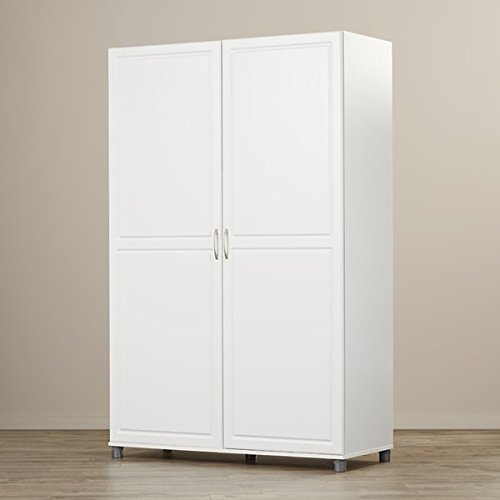 Armoire in White Removable Shelves on the Left Storage Unit has Raised Panel Doors